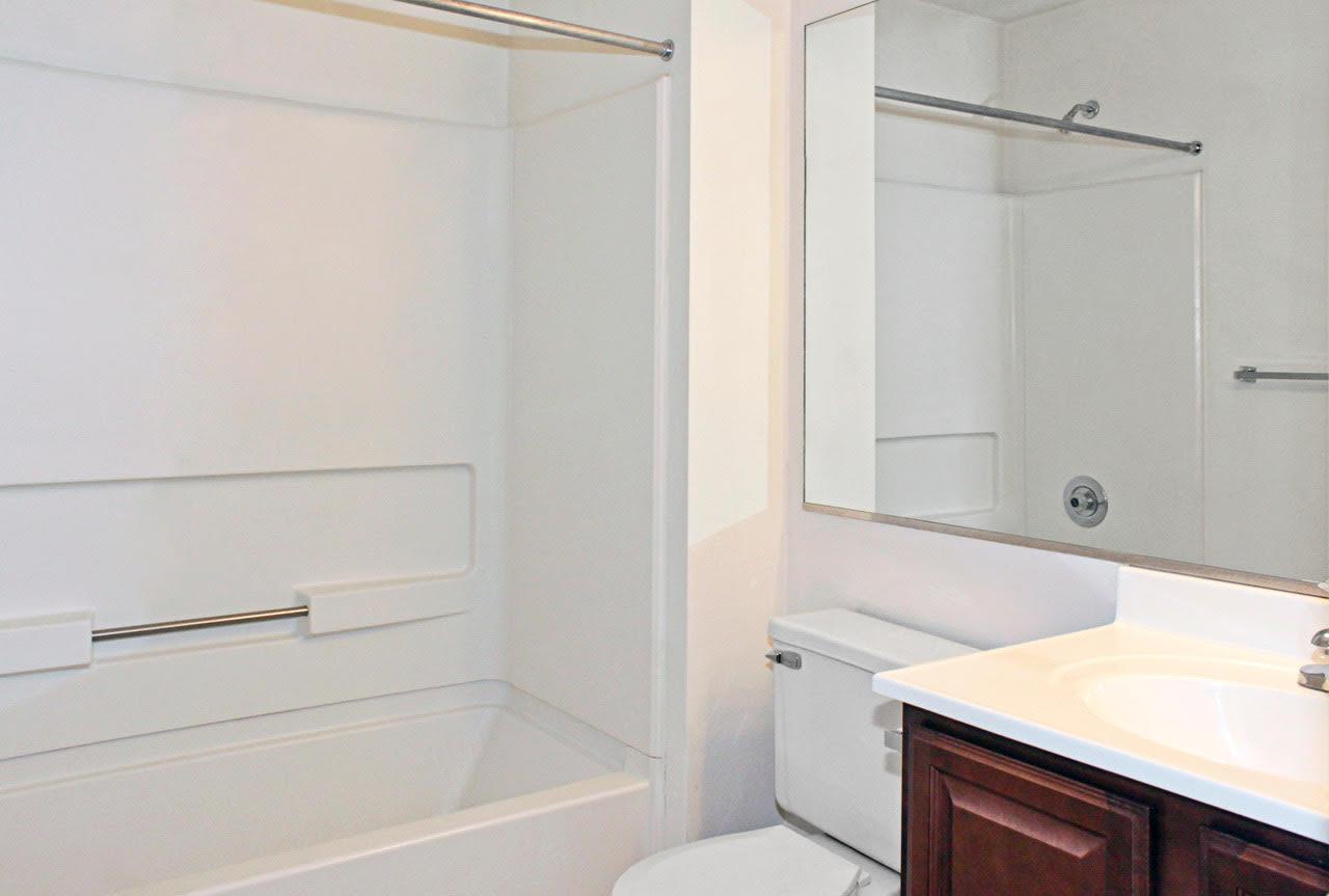 Bright bathroom at Meadowridge Apartments in Franklin, VA