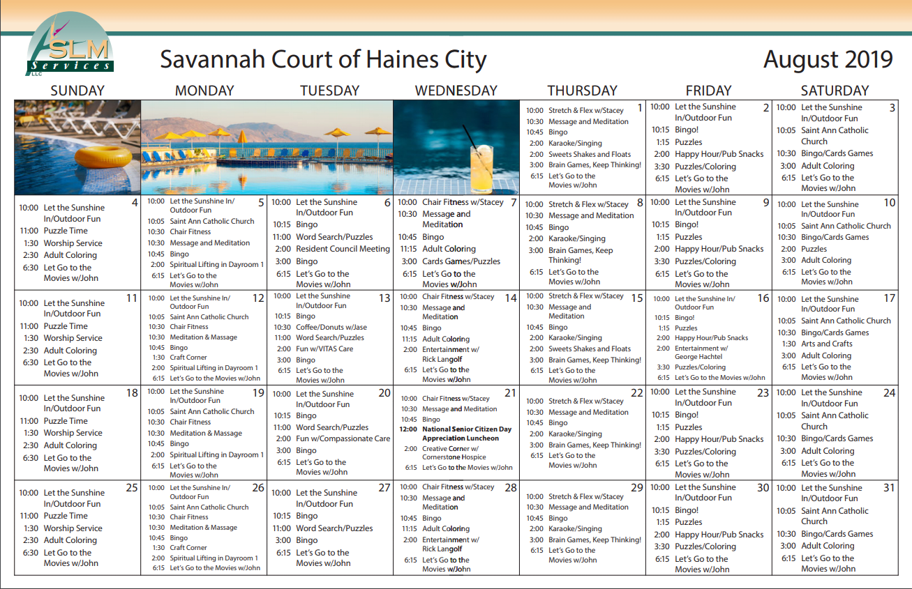 View our monthly calendar of events at Savannah Court of Haines City