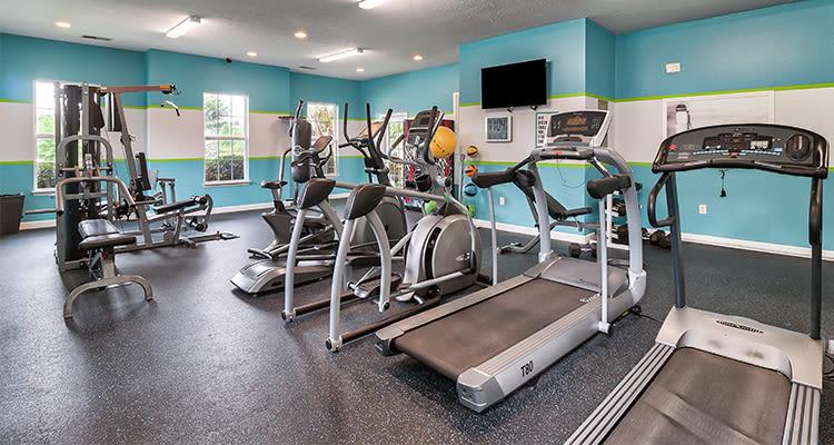 Fitness center at Main Street Apartments in Huntsville, Alabama
