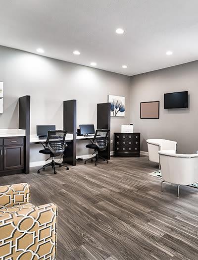 Business center at Main Street Apartments in Huntsville, Alabama