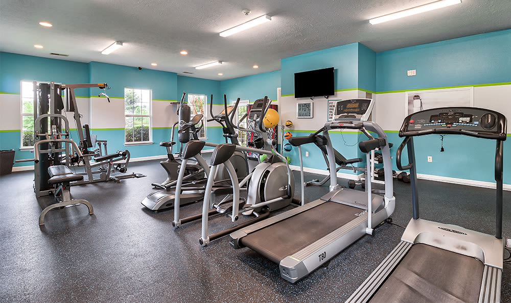 Fitness center at Main Street Apartments in Huntsville, Alabama