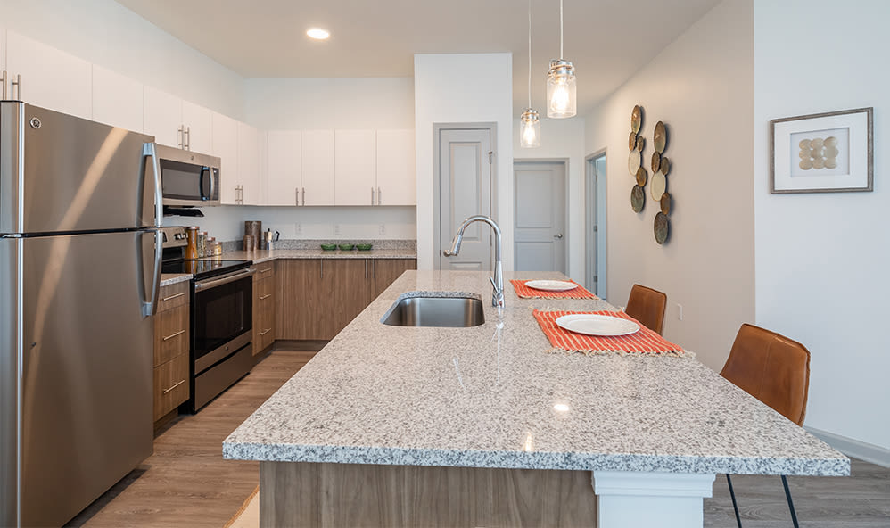 Modern kitchen at apartments in Webster, New York