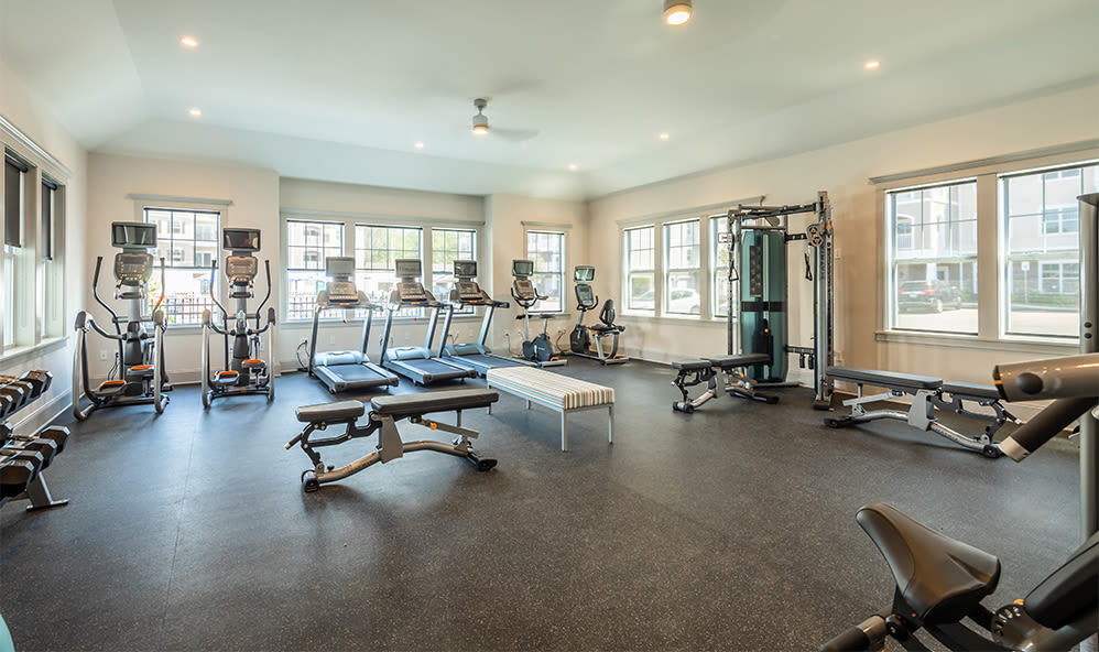 Modern fitness center at apartments in Webster, New York