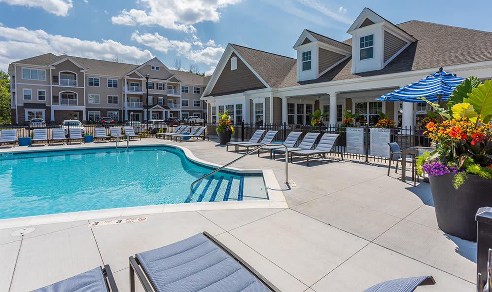 Luxury swimming pool at apartments in Webster, New York