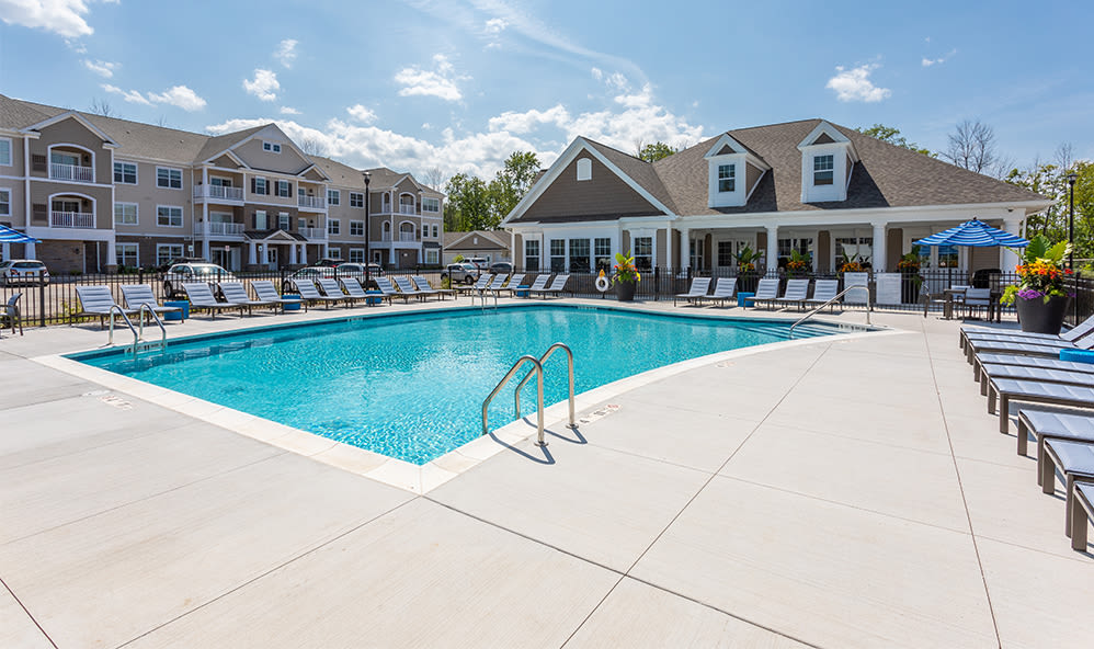 Beautiful swimming pool at apartments in Webster, New York