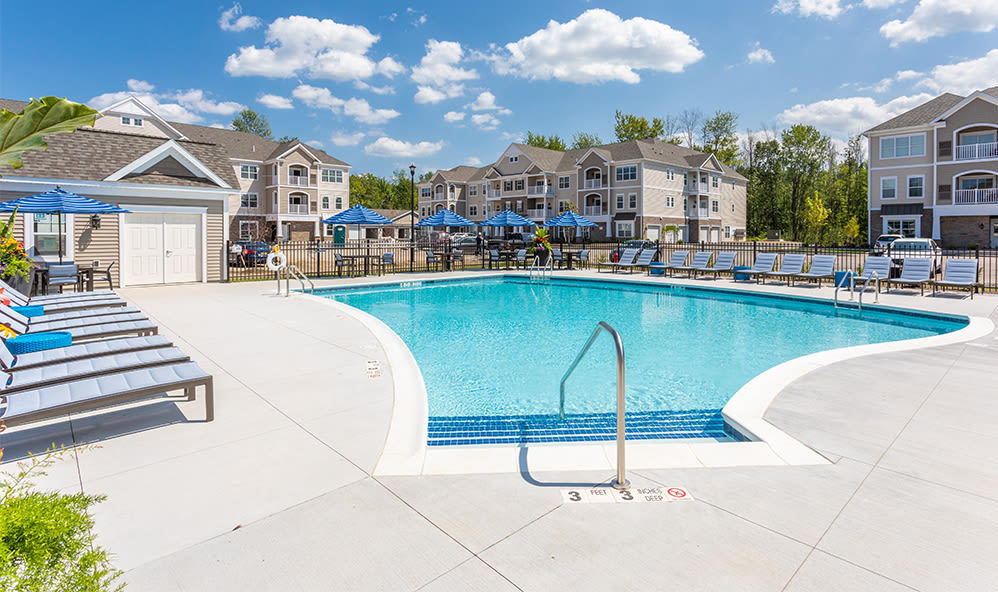 Unique swimming pool at apartments in Webster, New York
