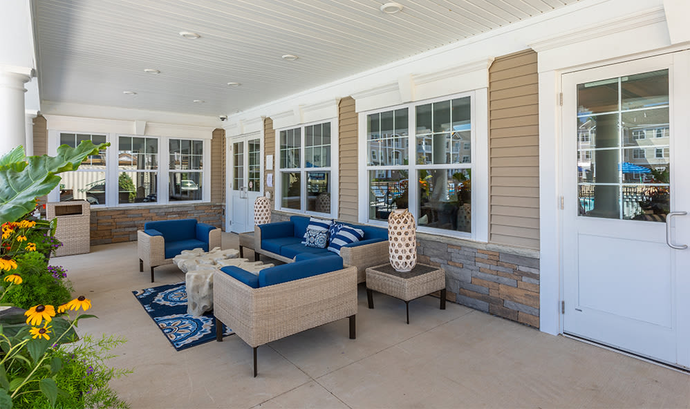 Clubhouse patio at apartments in Webster, New York