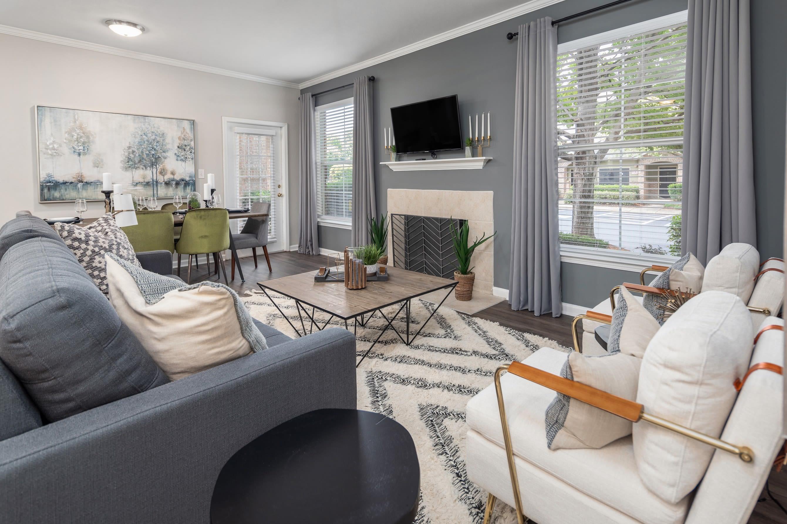 Open concept living room at Highlands at Alexander Pointe in Charlotte, North Carolina