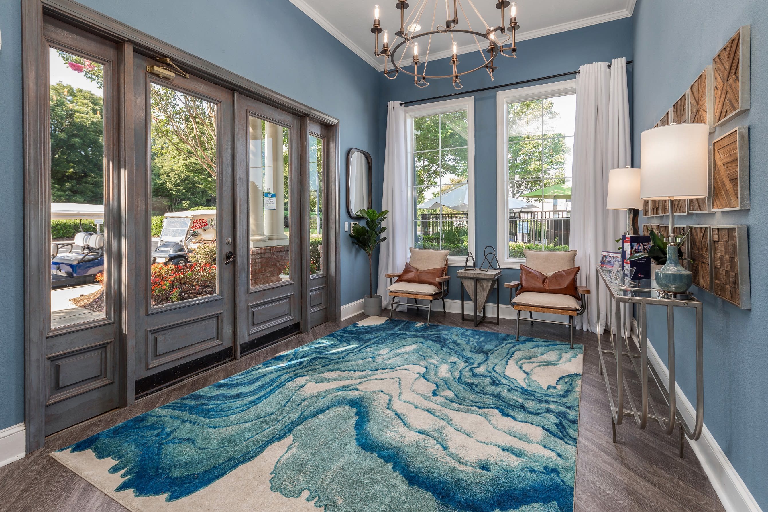 Entryway in pool clubhouse at Highlands at Alexander Pointe in Charlotte, North Carolina