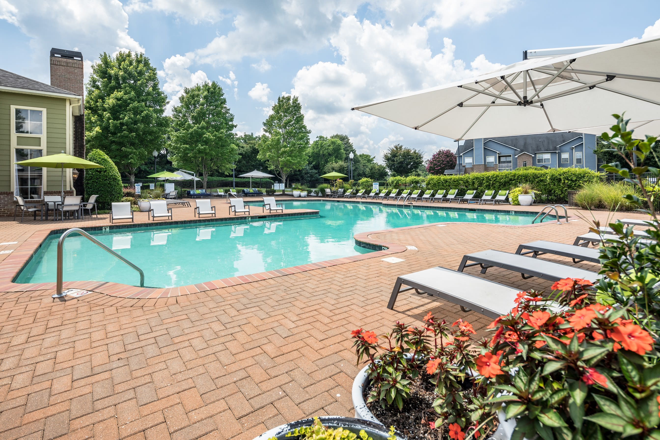 Plenty of seating by the pool at Highlands at Alexander Pointe in Charlotte, North Carolina
