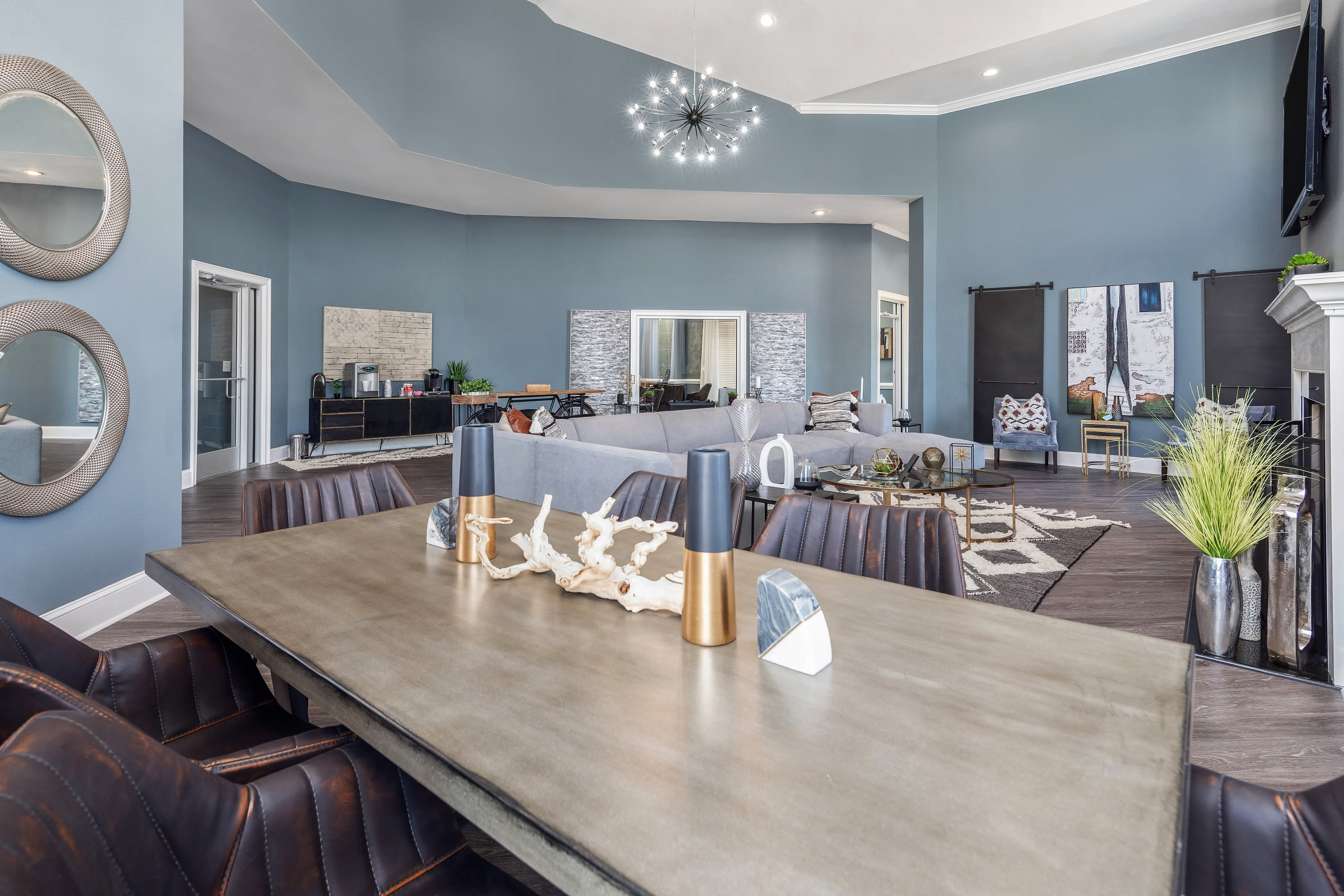 Modern furnishings in clubhouse at Highlands at Alexander Pointe in Charlotte, North Carolina