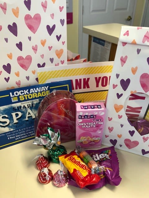 Candy of all sorts was given away at Lockaway Storage on Babcock Road this past Valentine's Day.