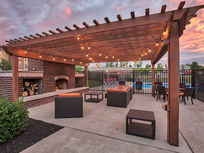 A bbq area that is great for entertaining at Overlook Apartments in Elsmere, Kentucky