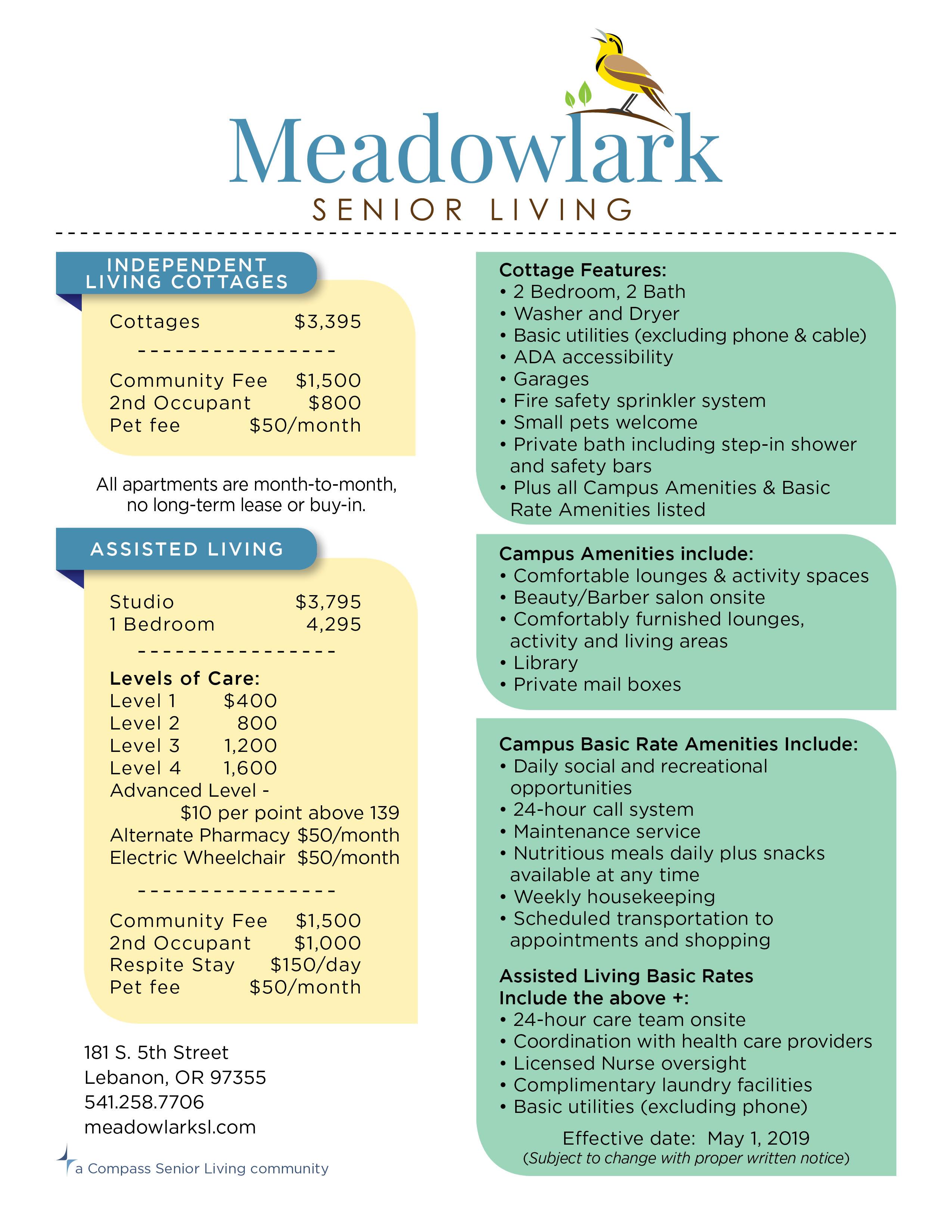 Rates Sheet at Meadowlark Senior Living