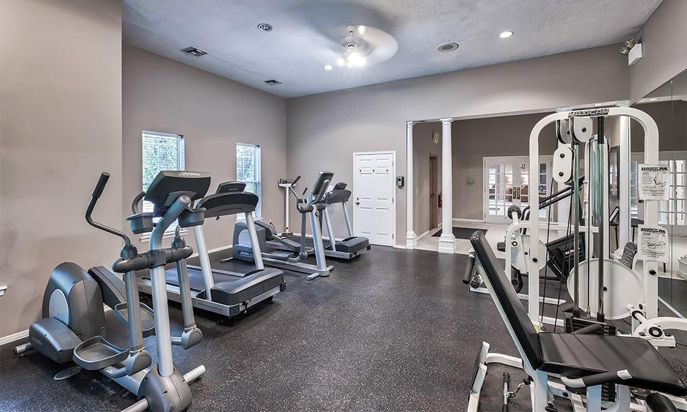 Spacious fitness center at Highlands of Montour Run in Coraopolis, Pennsylvania