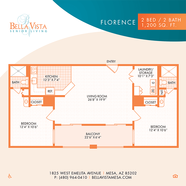 The Florence floor plan at Bella Vista Senior Living in Mesa, Arizona