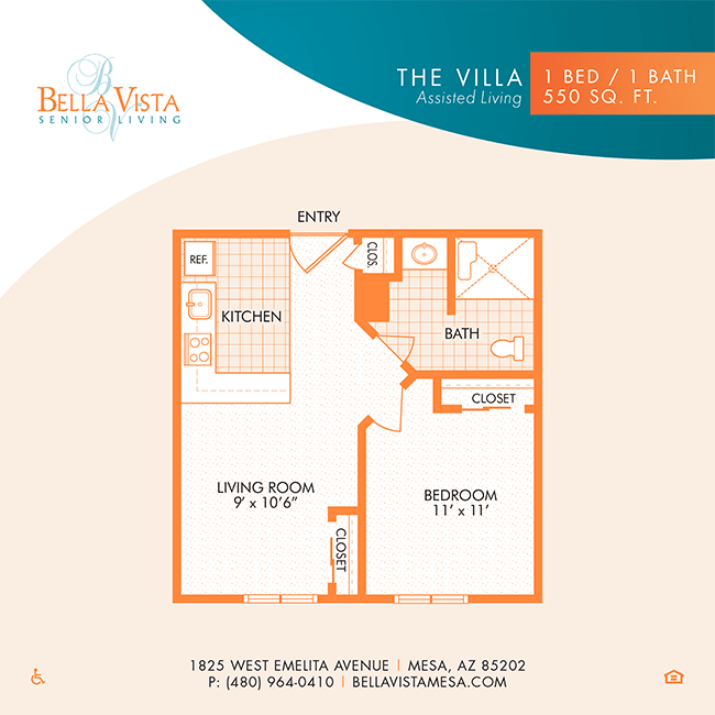The Villa floor plan at Bella Vista Senior Living in Mesa, Arizona