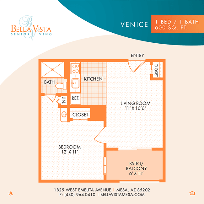 The Venice floor plan at Bella Vista Senior Living in Mesa, Arizona