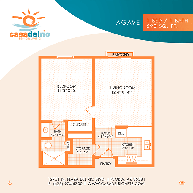 The Villa floor plan at Casa Del Rio Senior Living in Peoria, Arizona