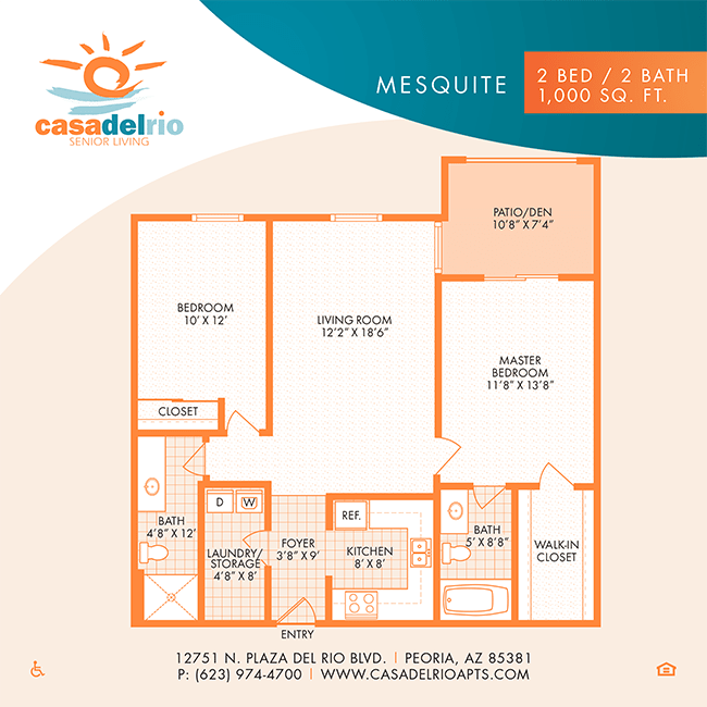 The Venice floor plan at Casa Del Rio Senior Living in Peoria, Arizona