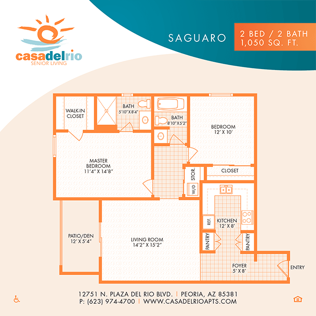 The Florence floor plan at Casa Del Rio Senior Living in Peoria, Arizona