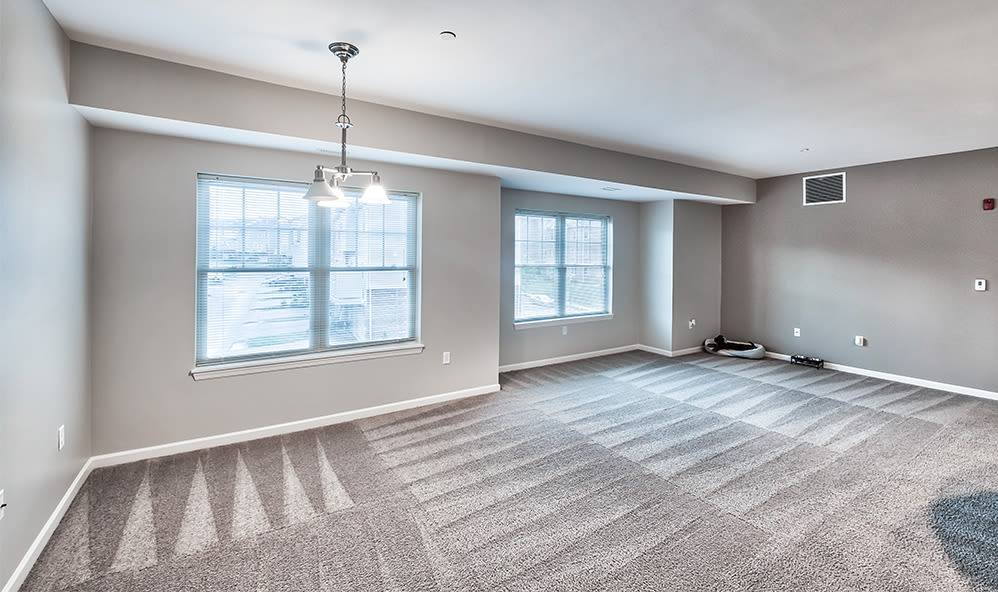 Naturally well-lit living room at Rochester Village Apartments at Park Place in Cranberry Township