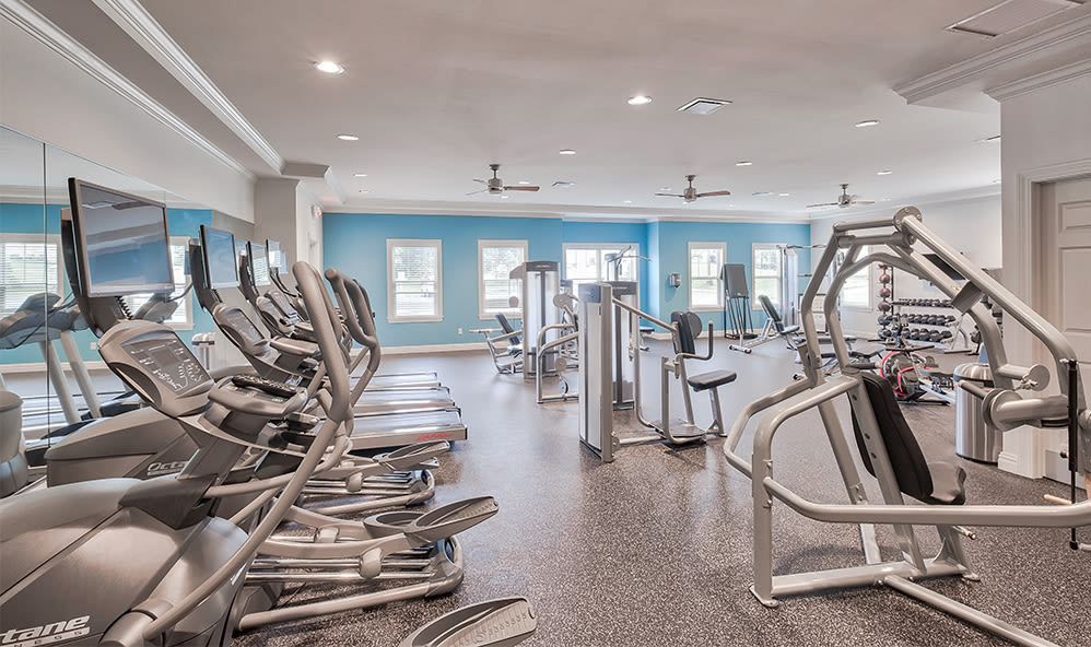 Spacious fitness center at Rochester Village Apartments at Park Place in Cranberry Township, PA