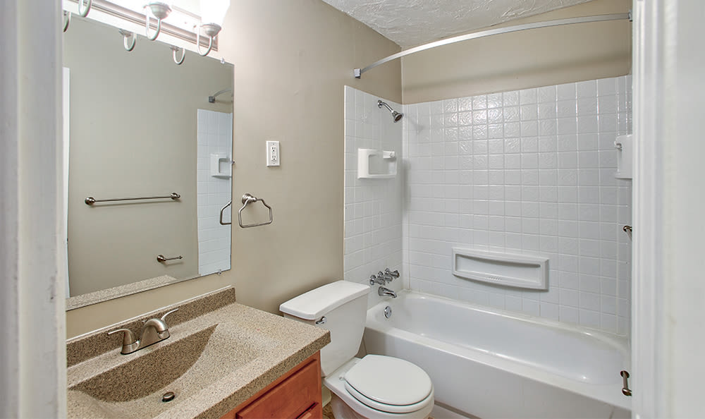 Updated bathroom at Solon Club Apartments in Oakwood Village, OH