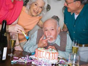 Residents celebrating a birthday at The Meridian at Boca Raton in Boca Raton, Florida.
