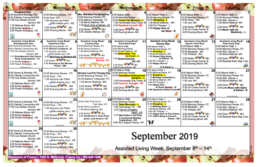 Calendar of Events at Westmont of Fresno