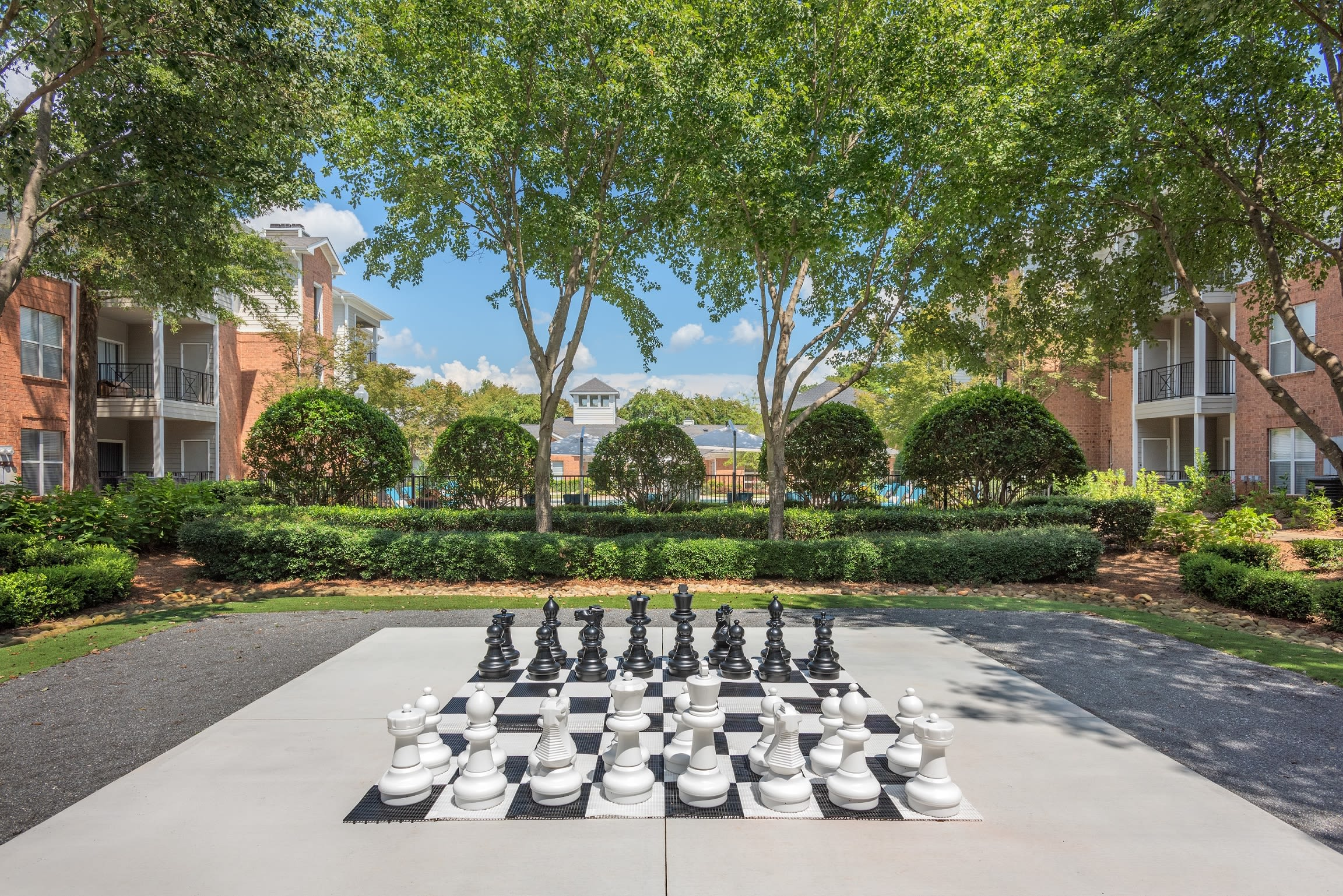 Outdoor jumbo chess at Presley Oaks in Charlotte, North Carolina