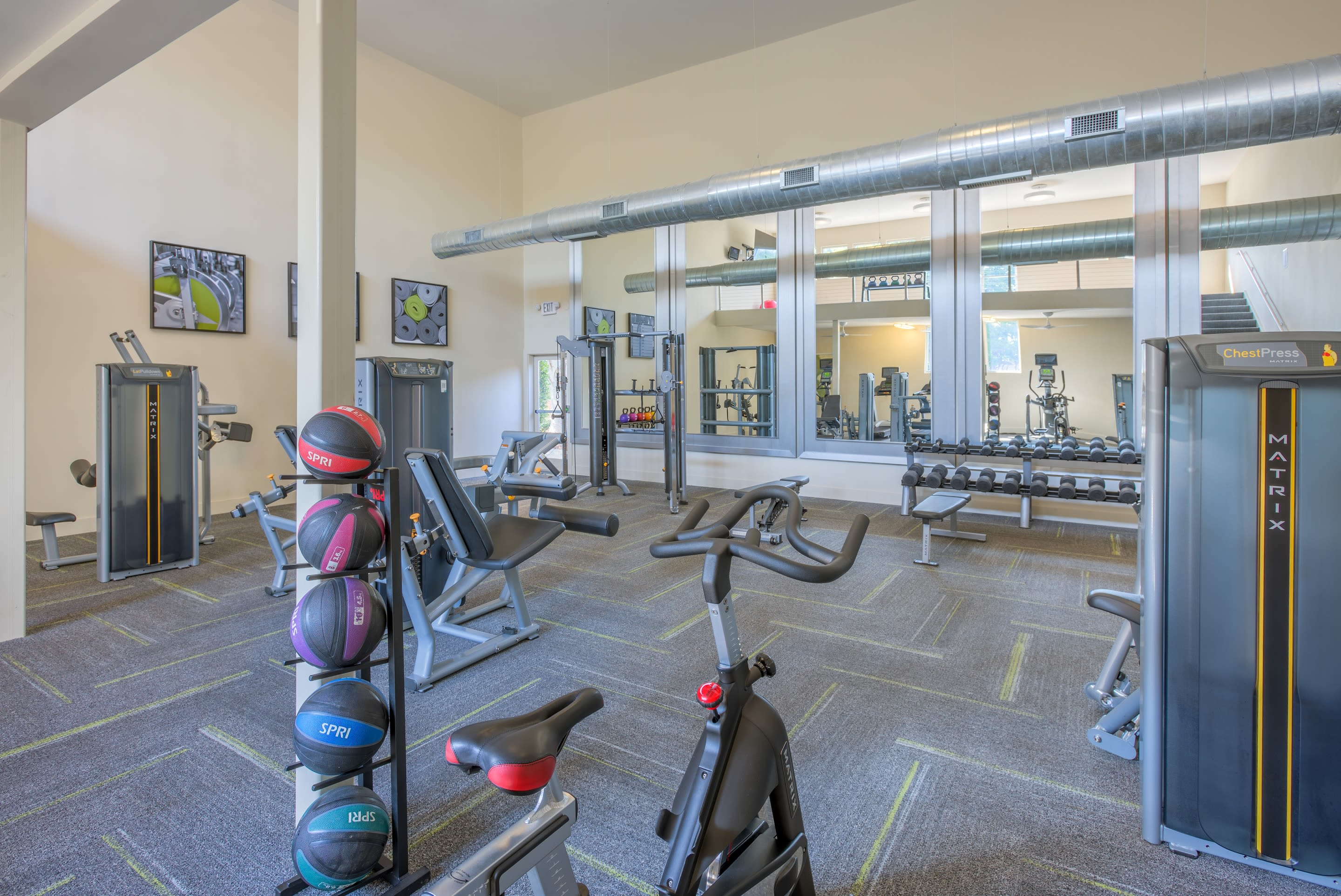 Large fitness center at Presley Oaks in Charlotte, North Carolina