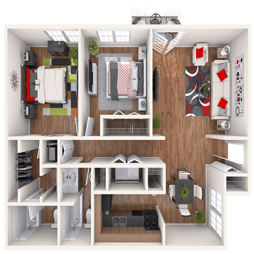 The Jackson 2 bedroom floor plan at 865 Bellevue Apartments in Nashville, Tennessee.