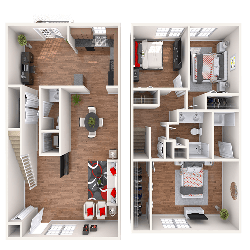 The Belmont Townhome floor plan at 865 Bellevue Apartments in Nashville, Tennessee.