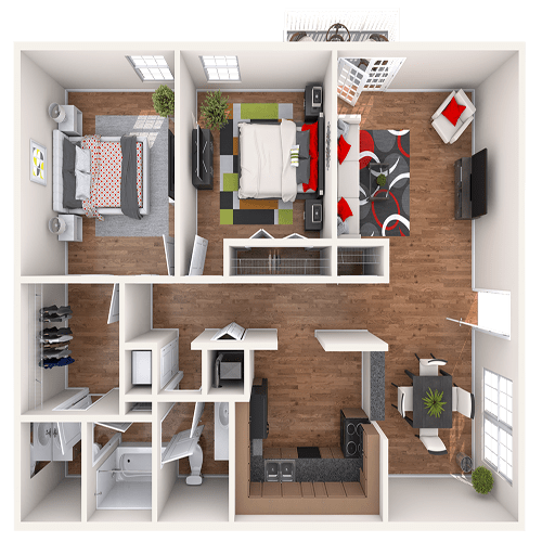 The Opry 2 bedroom floor plan at 865 Bellevue Apartments in Nashville, Tennessee.