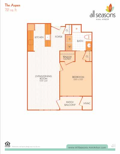 The Aspen floor plan at All Seasons Ann Arbor in Ann Arbor, Michigan
