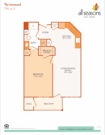 The Ironwood floor plan at All Seasons Ann Arbor in Ann Arbor, Michigan