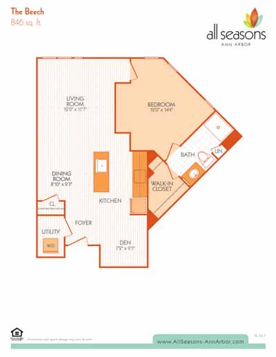 The Beech floor plan at All Seasons Ann Arbor in Ann Arbor, Michigan