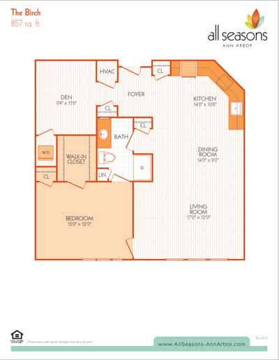 The Birch floor plan at All Seasons Ann Arbor in Ann Arbor, Michigan