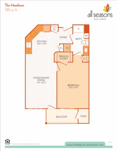 The Hawthorn floor plan at All Seasons Ann Arbor in Ann Arbor, Michigan