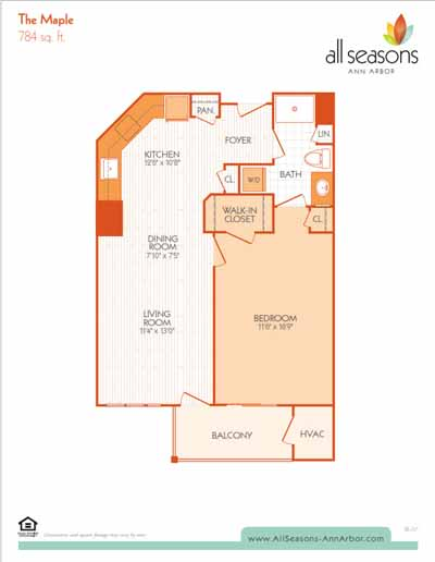 The Maple floor plan at All Seasons Ann Arbor in Ann Arbor, Michigan
