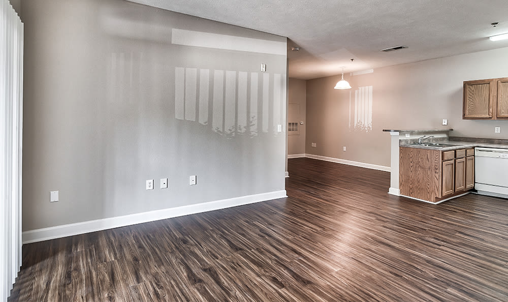 Spacious kitchen area at Main Street Apartments home in Huntsville, AL