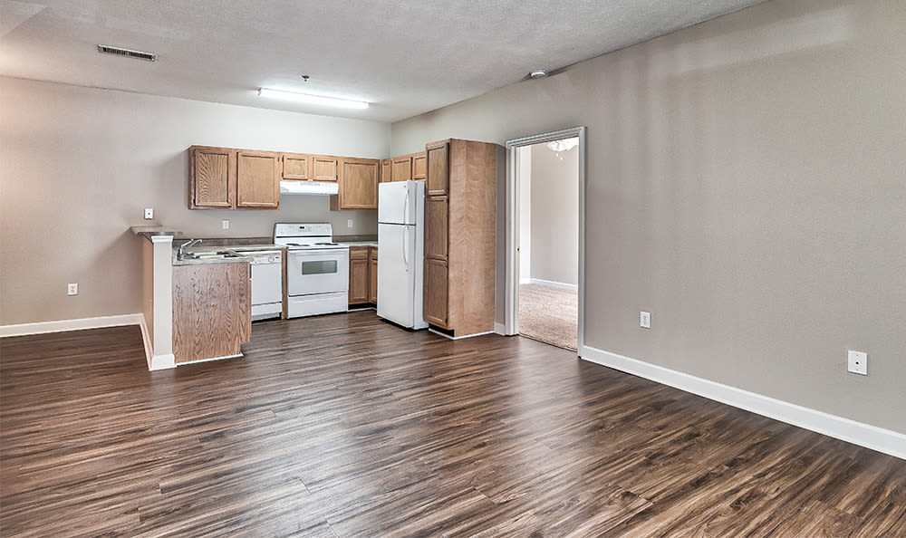 Kitchen area at Main Street Apartments home in Huntsville, AL