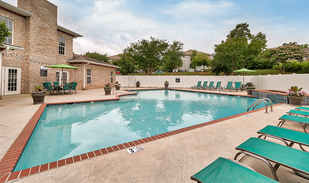 A swimming pool that is great for entertaining at apartments in Huntsville, Alabama