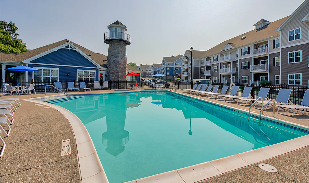 Luxury swimming pool at Waters Edge Apartments in Webster, New York