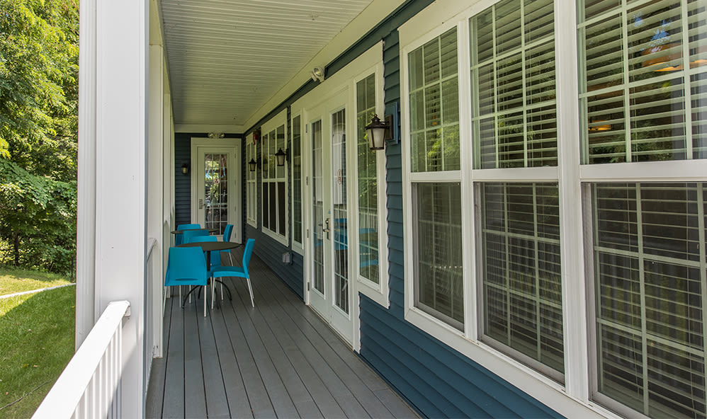 Clubhouse deck at Waters Edge Apartments in Webster, New York