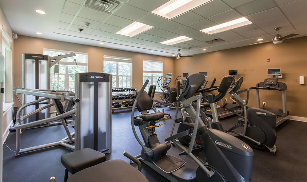 Stay healthy in our fitness center at Waters Edge Apartments in Webster, New York