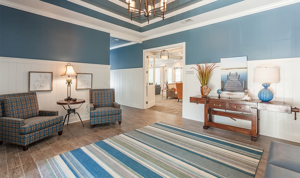 Clubhouse interior at Waters Edge Apartments in Webster, New York