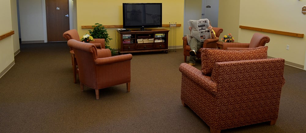 Inviting lobby at senior living in Calumet.