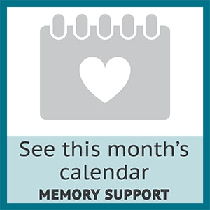 View this month's memory support calendar at Symphony at Delray Beach in Delray Beach, Florida.